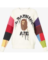 A Bathing Ape University Logo-embroidered Cotton-blend Knitted Jumper - White