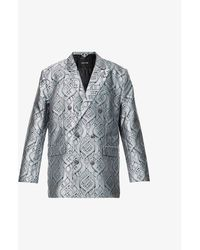 Daily Paper Lilo Double-breasted Jacquard Woven Blazer - Blue