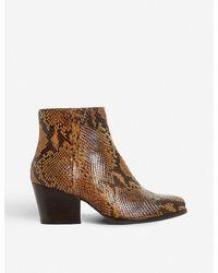 Bertie Leather 'poket' Mid Block Heel Ankle Boots - Brown
