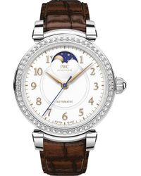 Iwc - Iw459307 Da Vinci Automatic Moon Phase 36 Stainless Steel And Leather Watch - Lyst
