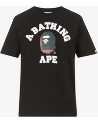 A Bathing Ape - College Graphic-print Cotton-jersey T-shirt - Lyst
