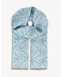Richard James Linear Stripe Linen Scarf - Blue