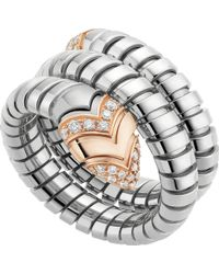 BVLGARI - Serpenti Tubogas 18ct Pink-gold, Diamond And Stainless Steel Ring - For Women - Lyst