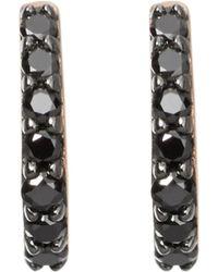 Astley Clarke - Mini Halo 18ct Rose-gold And Black Diamond Hoop Earrings - Lyst