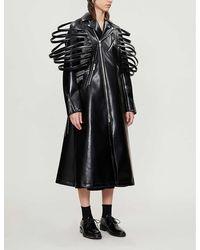 Noir Kei Ninomiya Cutout Asymmetric-zip Coated Faux-leather Coat - Black