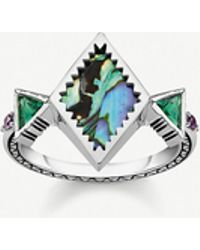Thomas Sabo Zig-zag Sterling Silver And Abalone Mother-of-pearl Ring - Metallic