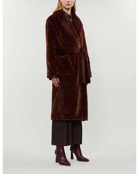 Reformation Hudson Faux-fur Belted Coat - Brown