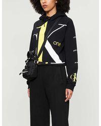 Calvin Klein Ck One Logo Cropped Cotton-jersey Hoody - Black