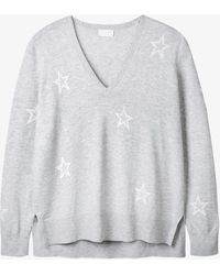 The White Company V-neck Cotton And Merino Wool Jumper - Blue