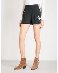 The Kooples - Embroidered Silk-crepe Shorts - Lyst