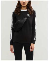 adidas Originals 3-stripes Embroidered-logo Cotton-jersey Top - Black
