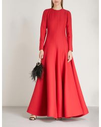 Valentino - Flared Wool And Silk-blend Gown - Lyst