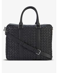 Bottega Veneta Double-faced Woven Leather Briefcase - Black