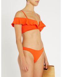 Lazul Carita Frilled Bikini Top - Orange