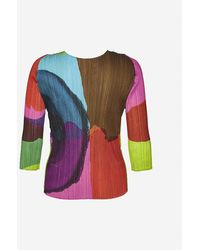 Pleats Please Issey Miyake Graphic-print Pleated Woven Top - Multicolor
