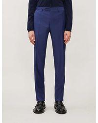 Canali Regular-fit Slim Wool Pants - Blue