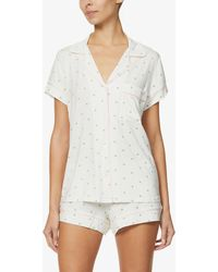 Eberjey Giving Palm Stretch-woven Pyjama Shorts Set - White