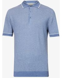Corneliani Geometric Relaxed-fit Silk And Linen-blend Polo Shirt - Blue