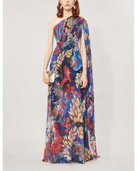 Peter Pilotto Leaf-print One-shoulder Silk Gown - Blue