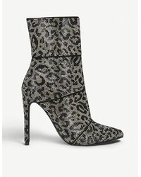 Steve Madden - Winona Leopard-print Embellished-woven Ankle Boots - Lyst