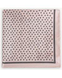HUGO - Logo Print Silk Pocket Square - Lyst