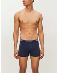 Tommy Hilfiger Men's Peacoat Pack Of 3 Stretch-cotton Trunks - Blue