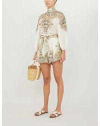 Zimmermann Freja High-waist Paisley-print Linen Shorts - Multicolour