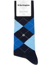 Burlington Manchester Original Cotton Socks - Blue