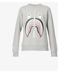 A Bathing Ape Shark Graphic-print Cotton-jersey Sweatshirt - Grey
