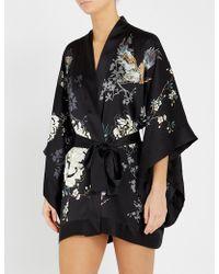 Meng Floral-print Silk-satin Kimono - Black