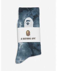 A Bathing Ape Ape Head Tie-dye Cotton-blend Ankle Socks - Black