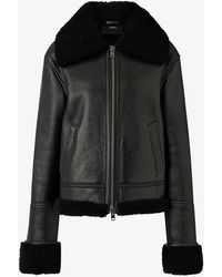 JOSEPH June Leather And Shearling Jacket - Blue