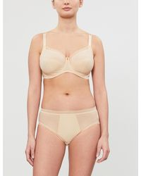 Fantasie Fusion Striped Underwired Mesh And Stretch-jersey Bra - Natural