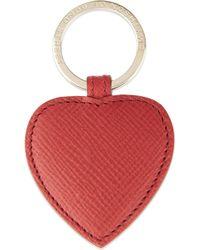 Smythson - Panama Leather Heart Keyring - Lyst