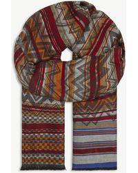 Missoni Vintage Zig-zag Weave Cotton-blend Scarf - Red