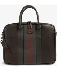Ted Baker Cherade Striped-trim Leather Briefcase - Black