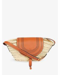 Chloé Marcie Leather And Raffia Tote Bag - Brown