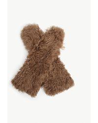 Miu Miu Curly Shearling Gloves - Brown