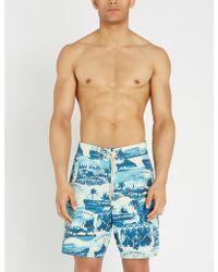 RRL Scenic-print Swim Shorts - Blue