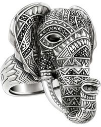 Thomas Sabo Elephant Head Sterling Silver Ring - Metallic