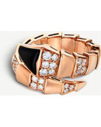 BVLGARI Serpenti 18kt Pink-gold And Black-onyx Ring - Metallic