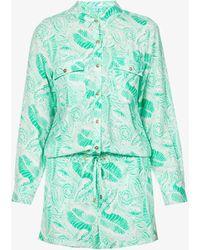 Melissa Odabash Womens Folie Chloe Floral-print Woven Coverup Jumpsuit S - Green