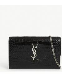 Saint Laurent Uptown Monogram Croc-embossed Leather Wallet-on-chain - Black