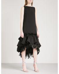 Huishan Zhang - Frilled Feather-trim Sleeveless Woven Dress - Lyst