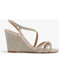 L.K.Bennett Shiela Woven-rope Wedge Sandals - Metallic