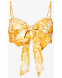Zimmermann Mae Sweetheart-neck Linen Bralette Top - Multicolour