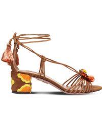 Aquazzura - Samba Embroidered Suede Sandals - Lyst