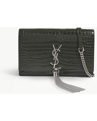 Saint Laurent - Ladies Green Embossed Timeless Kate Crocodile-embossed Leather Billfold-on-chain - Lyst