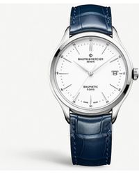 Baume & Mercier My Classima Stainless Steel And Leather Watch - Blue