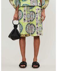 JW Anderson Mystic Paisley-print High-rise Linen Shorts - Multicolor